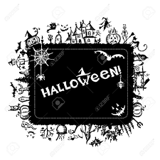 halloween border black and white halloween frame for your design royalty free cliparts vectors
