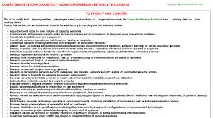 computer network architect work experience certificate