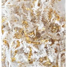 gift basket shredded paper shred 8 oz white and gold crinkle shred white gift basket