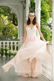 spaghetti wedding dress blush lace and chiffon informal wedding dress with