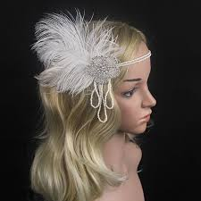 gatsby headband kmvexo chain pearl tassels white feather 1920s headpiece
