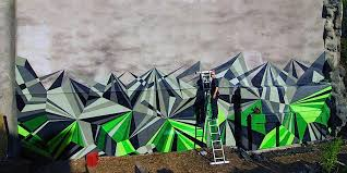 geometric graffiti murals