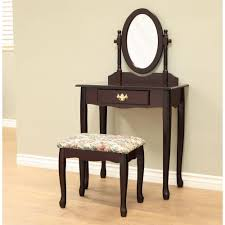 White Bedroom Vanity Table With Tilt Mirror Cushioned Bench Frenchi Home Furnishing 3 Piece Cherry Vanity Set H 7 C The Home