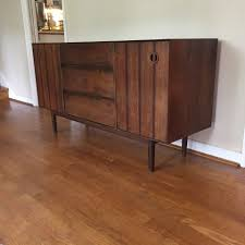 Midcentury Modern Buffet - mid century modern walnut stanley credenza with rosewood accents