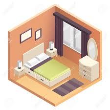 3d apartment design isometric bedroom interior design illustration miniature vector
