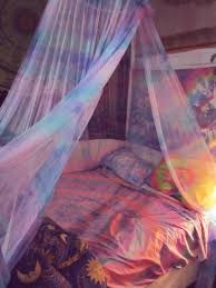 Trippy Room Decor White Wooden Loaf Bed With Purple Tent And Blue Curtains F Bedroom