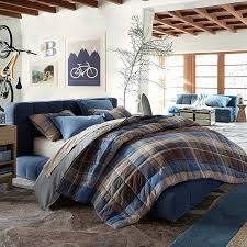 Twin Plaid Comforter Baldwin Upholstered Bed Pbteen