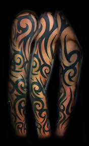 collection of 25 half sleeve blue ink tribal tattoos