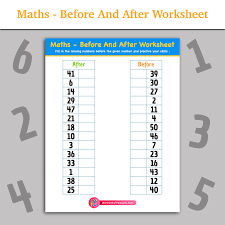 maths before and after worksheet inky treasure