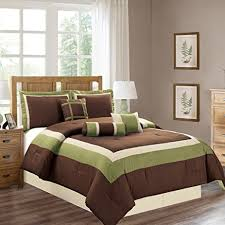 home design down alternative color comforters amazon com 7 piece full size double bed sage green brown