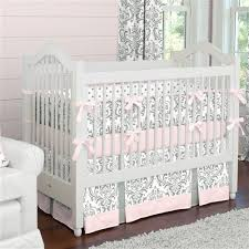 Pink And Brown Damask Crib Bedding Pink And Gray Traditions Crib Bedding Baby Bedding
