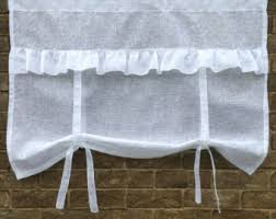 Tie Up Window Curtains Linen Window Valance Curtain Monogram French Style Rollup