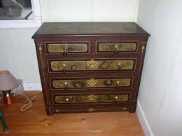 Tiger Maple Furniture Antique Old Espresso Tiger Maple Dresser With 5 Front Drawer And