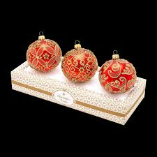 boxed glass ornaments with gold and frosty decoration set