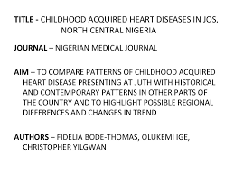 a review of childhood acquired heart diseases in north central nigeria