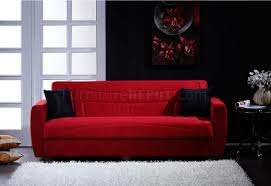 red microfiber living room with storage sleeper sofa