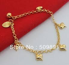 bracelet with hearts images New fashion 24k gold colou multi charm bracelet heart pendant kid jpg