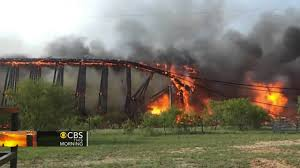 watch fiery collapse of railroad trestle youtube