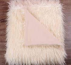 Faux Fur Throw Blanket Com White Ivory Shaggy Mongolian Lamb Faux Fur Throw Blanket