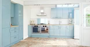 blue kitchen cabinet color scheme with wooden floor in modern