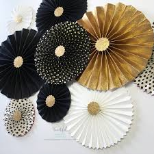 white paper fans new year s wedding decor gold glitter rosettes