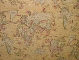 World Globe Map Sand Atlas World Globe Map Cotton Linen Fabric Curtain Blinds