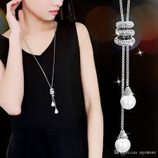fine chain pendant necklace images Wholesale ladies fashion charm crystal pearls pendant necklace jpg