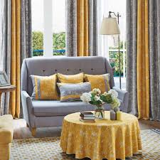 yellow and gray patterned modern long room divider curtains