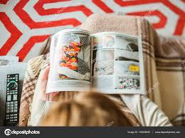 woman reading ikea catalog furnishing house u2013 stock editorial