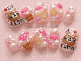 japanese 3d nail harajuku jfashion kawaii kuma bear fake