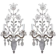 Crystal Wall Sconce by Pair Of French Bagues Wall Sconces Of Rock Crystal At 1stdibs