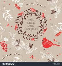 christmas vector illustration bird ashberries stock vector