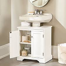 bathroom pedestal sink cabinet amazon com weatherby bathroom pedestal sink storage cabinet