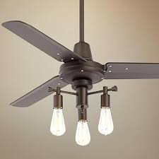 industrial looking ceiling fans in addition to vintage style bulbs