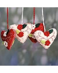 spectacular deal on wool felt ornaments joyful hearts set of 4