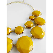 Yellow Mustard Color Mustard Yellow Marble Stone Bauble Box Statement Necklace