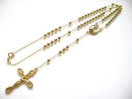 catholic necklace our of gold plated copper rosary cross necklace