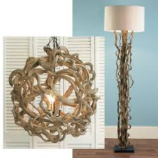 beach themed light fixtures de vine wood ball chandelier and curled vines floor l wow