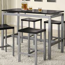Metal Dining Room Chair Atlus Counter Height Contemporary Silver Metal Table With Black