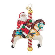 radko 1017654 carousel claus santa riding carousel horse