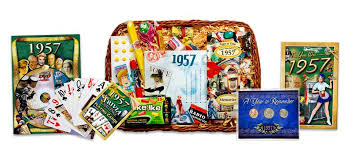 60 birthday gifts birthday gift basket for 1957 or 1958 with coins