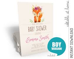 woodland baby shower invitation instant download
