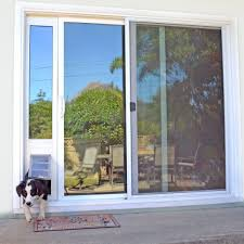 Patio Door With Pet Door Built In Patio Door With Built In They Design Throughout