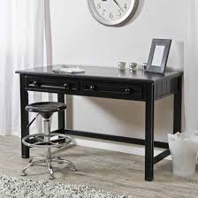 Grey Wooden Desk Furniture Rectangle Black Wooden Desk With Two Drawers And Black