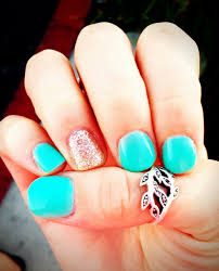 turquoise and gold gel nails from yours truly pinterest