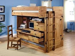 Wooden Bunk Bed With Desk Loft Bed With Trundle And Desk Brown Wooden Loft Beds With Desks