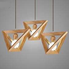 simple geometric wood pendant light for dining room bar living