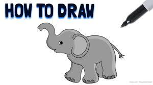 how to draw a cartoon elephant drawing tutorial youtube