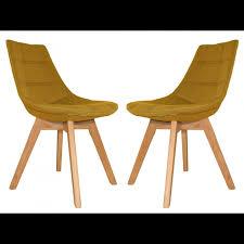 chaises jaunes lot 2 chaises tissu piétement chêne deb chaise meubletmoi com