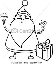 vectors santa claus cartoon coloring black white